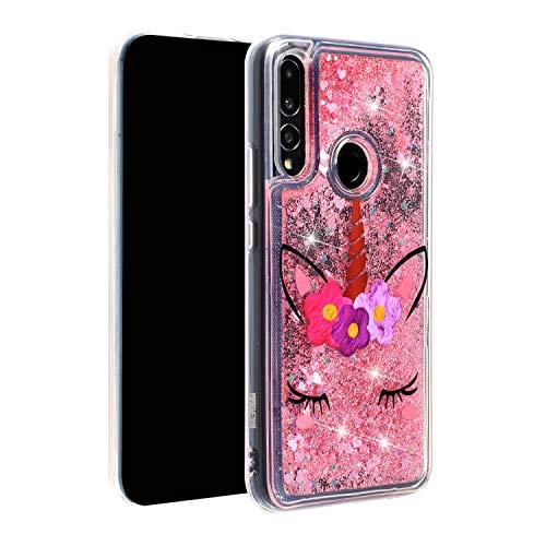 CUagain Compatibel met Huawei P Smart Z / Y9 Prime 2019 Hoes Silicone Glitter Liquid 3D Transparant Hoes Doorzichtig Bumper Telefoonhoes Case Cover Meisjes Dames, Roze / Pink Flower, Huawei P Smart Z / Y9 Prime 2019, Roze Eenhoorn B