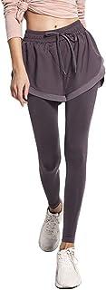 Sentao Women Quick Dry Fake Two Pieces Sport Yoga Pants Fitness Workout Sportswear Leggings