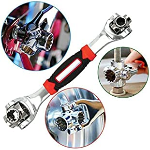 Spanner Socket Wrench 48 Tools in 1 Tools Socket 360 Degree Universal Portable Furniture Car Repair Works with Spline Bolts 6-Point 12-Point Torx Square Damaged Bolts and Any Size Standard or Metric (Red)