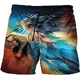 HUear Pantaloncini da Nuoto da Uomosport Boxer Costumi da Bagno Boxer Biancheria Intima Coulisse Summer Beach Board Shorts Elastico Costume da Bagno Bottom Animal Lion Wolf-Stk089_3XL.