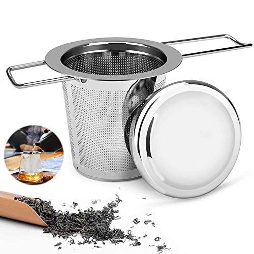 Colador de té de acero inoxidable 304 para té suelto Coladores de té Premium Filtro de té con tapa con asa larga plegable Para la mayoría de las teteras, tazas de té y tazones de té