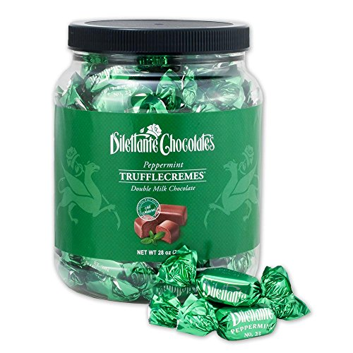 Peppermint Chocolate TruffleCremes | Covered in Double Milk Chocolate | Made from All-Natural Ingredients | 28-ounce Bulk Jar | A Perfect Gift for Chocolate Lovers | By Dilettante Chocolates