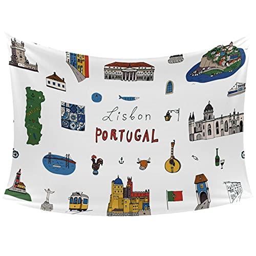 Tapiz de pared - Tapiz para pared y decoración de habitación para dormitorio, sala de estar, Lisboa, ciudad de Portugal