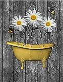Cartel retro de estaño rústico rústico vintage decoración de baño crisantemo bañera de metal signo retro vintage café pared bar decoración metal signo 20 x 30 cm