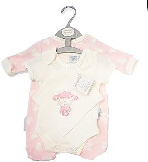 Girls Pink/White LITTLE LAMB Design 3 Piece Sleepsuit, Bib & Bodysuit Set (Newborn)