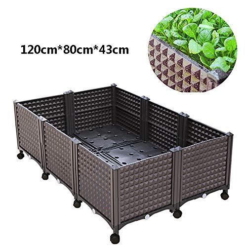 SSZZ Kunststoff-Gartenbeete Pflanzbox Mit Rädern Selbstbewässernde Indoor Outdoor Große Blumentopf Balkon Gemüse Pflanzer,U