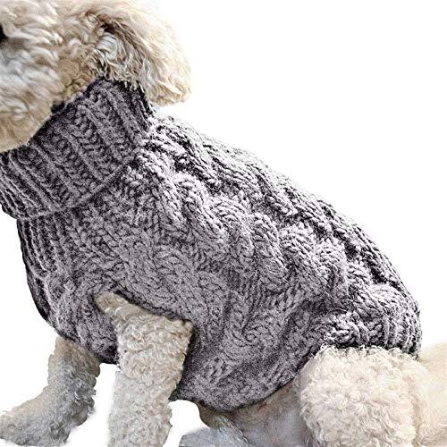 HAPPKING Chihuahua Kleidung Pullover Winter Warm Strickwolle Hundepullover Hundepulli Wollpulli für kleine, mittel und große Hunde (Farbe : Grau, Größe : M)