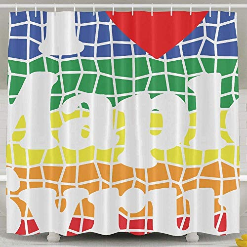 N/A Ik hou van hart esdoorn siroop regenboog mode douchegordijn Deluxe waterdicht bad gordijn 60 x 72inch