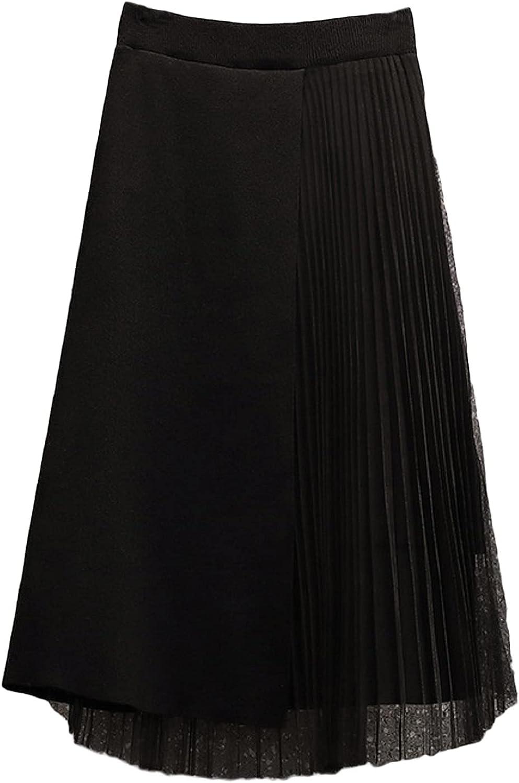 CHARTOU Women's Elegant Elastic Waist Tulle Pleated Irregular Knitted A-Line Skirt