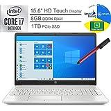 "2020 HP 15.6"" Touchscreen Laptop Computer_ 10th Gen Intel Quard-Core i7 1065G7 up to 3.9GHz_ 8GB DDR4 RAM_ 1TB PCIe SSD_ Microphone_ Webcam_ Windows 10_ BROAGE 64GB Flash Stylus_ Online Class Ready"
