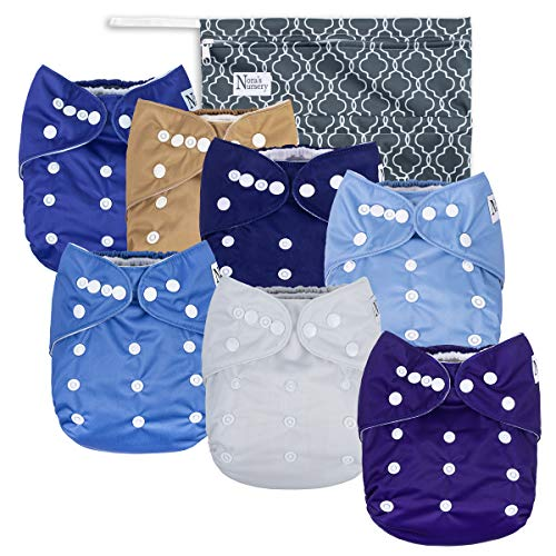 Unisex Baby Cloth Pocket Diapers - Azure Blue 7 Pack, 7 Bamboo Inserts, 1 Wet Bag by Nora's Nursery