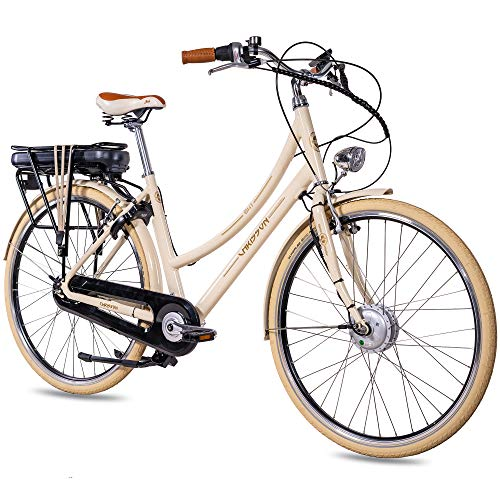 CHRISSON 28 Zoll E-Bike City Bike für Damen - EH1 beige mit 7 Gang Shimano Nexus Nabenschaltung - Pedelec Damen mit Bafang Vorderradmotor 250W, 36V, 45 Nm, Retro Elektrofahrrad Damen