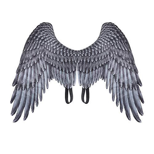 MYhose Disfraz de alas para Adultos, niños, Halloween, Negro, Blanco, Plumas no Tejidas, alas de ángel, Disfraz de Cosplay Malvado, Mardi Gras, Juego de simulación, Accesorio de Vestir, Blanco