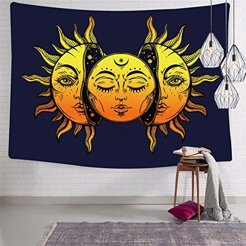 yueliang Moon And Sun Wall Tapestry Funny Decorative 3D Printing Tapestries for Bedroom Living Room 51.2 x 59.1 Inch