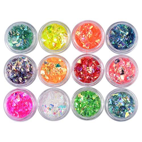 FURU 12 Box/Set Maniküre Shell Cellophan Bunte Candy Aurora Papiere Harte Epoxidfüllung,UV Harz Epoxidharz Handwerk Materialien