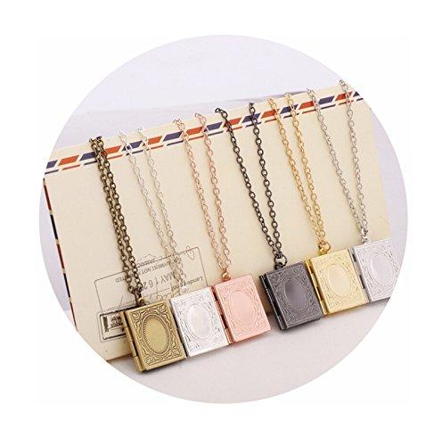 Adisaer Medaillon Rosegold Halskette Frauen mit Gravur Verlobung Amulett Zum Öffnen Damen Herren Rechteck Bilder Form Foto Amulett Kette Für Tochter