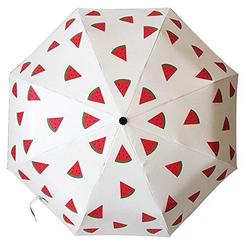 Ai-life Einzigartiger Entwurf der Frischen Fruchtigen muster Kompakt Vinyl Sonnenschirm UV-Schutz Winddicht Regenschirm, Kompakte Design, 8 Verstärkten Rippen, Wassermelone
