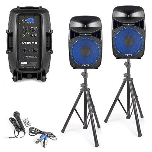 "Vonyx VPS122A Aktives Lautsprecher-Set 800 W 12\"" (30 cm) USB/SD-Port MP3 BT"