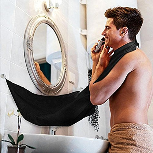 SUNNIOR Beard Apron Shaving Grooming Apron with 2 Mirror Suction Cups Let Your Bathroom Keep Clean,The Best Shaving Beard Gift!