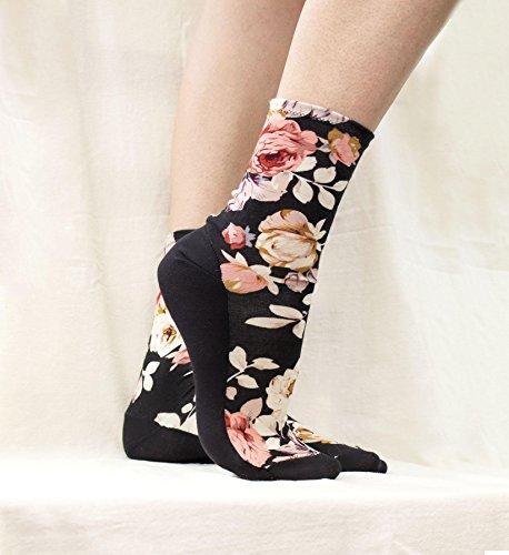 Black Floral Modal Socks. Soft Feminine Homemade Socks. Ankle Socks. Women's Socks