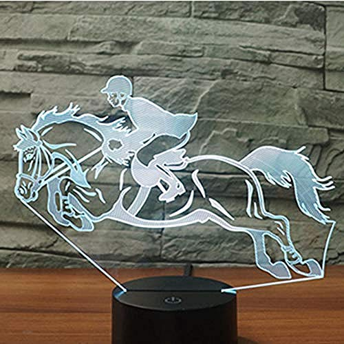 3D Led Night Light Ride A Horse Riding with 7 Colors Light for Home Decoration Lamp Amazing Visualization Optical Illusion