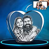 ArtPix 3D Crystal Photo, Personalized Gift With Your Own Photo, 3D Laser Etched Picture, Engraved Heart Crystal, Memorial Birthday Gifts for Mom, Dad, Men, Women, Customized Anniversary Couples Gifts
