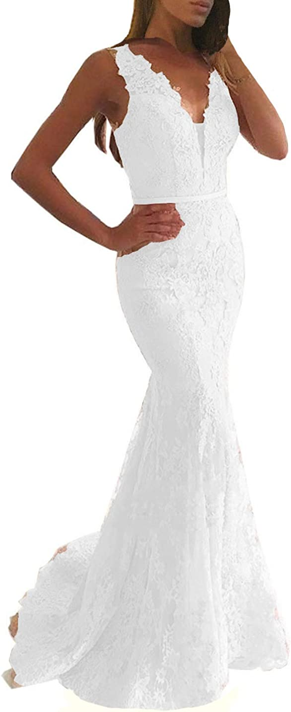 Lemai Women Beaded Lace Mermaid Long V Neck Prom Dresses Formal Evening Gown