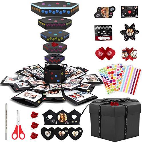 Emooqi DIY Explosion Box, Creative DIY Handmade Surprise Explosion Gift Box Love Memory, Scrapbooking Photo Album Gift Box for Birthday Valentine's Day Anniversary Wedding Christmas Festival … (Dark)