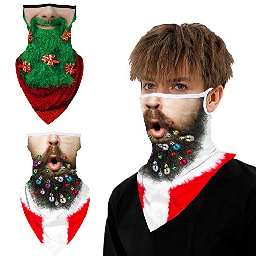 Ainuno Beard Mask for Men Funny Holiday Mask Adult Bearded Man Neck Gaiter Ugly Christmas Face Covering Half Face Half Mask Igly Mask Christmas Costume Accessories for Xmas Party Cosplay Green Print