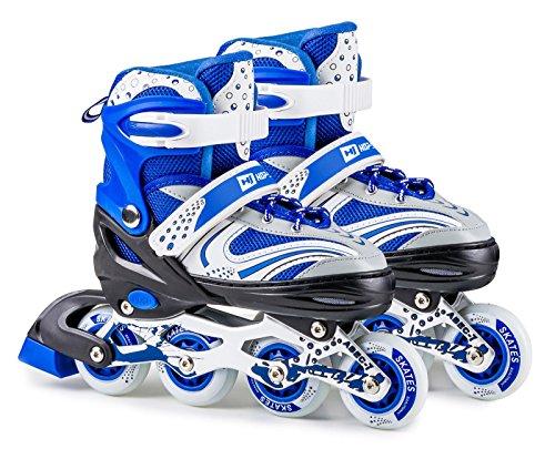 Hop-Sport 3in1 Inliner Inlineskates/Roller/Triskates für Kinder/Verstellbar/Farbe Weiß-Blau - M 34-38