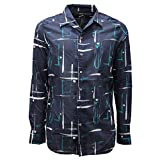 Bagutta 7084AC Camicia Uomo Milano Slim Fit Blue Cotton Shirt Men [40 (15 3/4)]