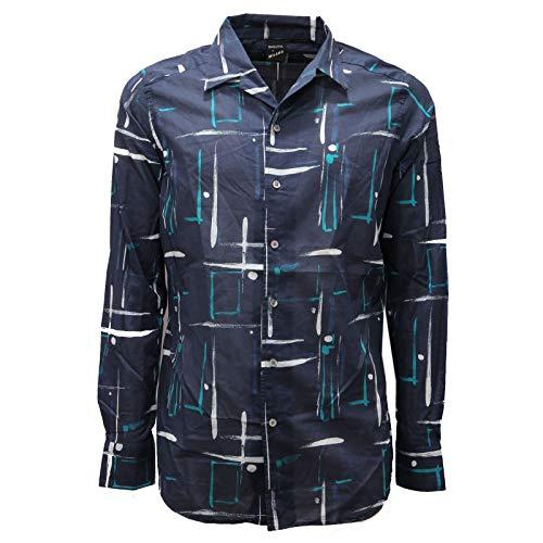 Bagutta 7084AC Camicia Uomo Milano Slim Fit Blue Cotton Shirt Men [40 (15 3/4)]