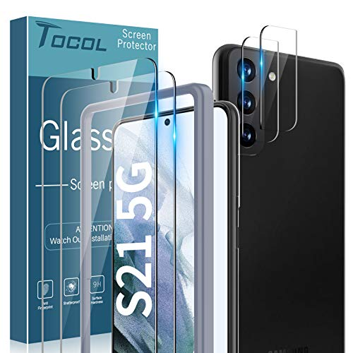 TOCOL 4 Pack Compatible with Samsung Galaxy S21 5G 6.2 inch - 2 Pack Tempered Glass Screen Protector and 2 Pack Camera Lens Protector with Installation Frame HD Clear Case Friendly