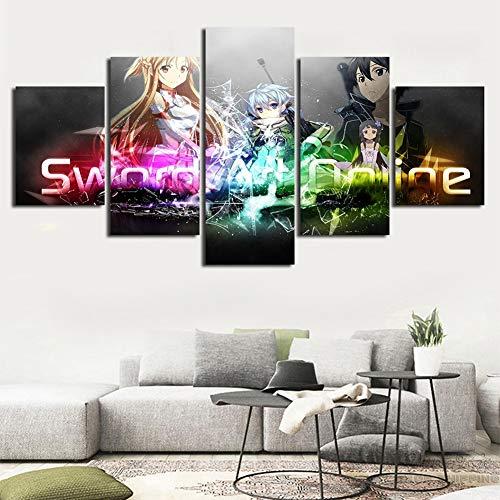 Zcbm 5 Drucke Bild Auf Leinwand HD Drucke Sword Art Online Dragon Ball Naruto Bilder Leinwandbilder Modulare Poster Leinwandbild Malerei Gestreckt Und Gerahmt,A,20x35x2+20x45x2+20x55x1