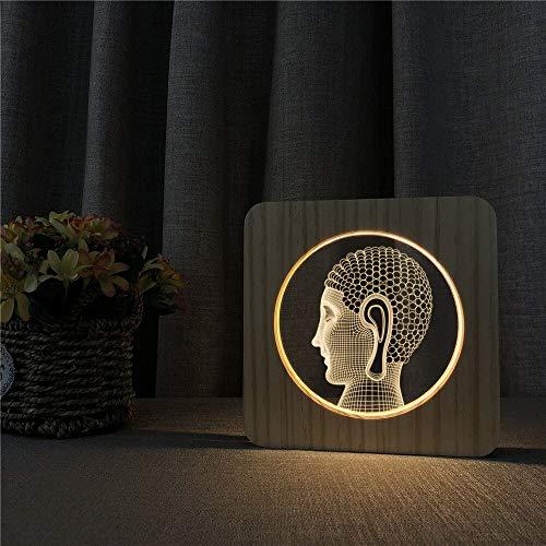 Jiushixw 3D acryl nachtlampje met afstandsbediening van kleur veranderende lamp Boeddha hoofd bureaudimmen kinderkamer epoxy carving retro make-uptafellamp