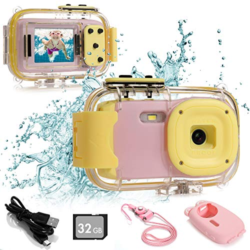 """Batlofty Kids Underwater Camera, 8MP 1080P HD Waterproof Digital Camera with 2.0"""" IPS Screen, 32GB SD Card, Waterproof & Silicone Case, Lanyard, Camcorder for Kids Boys and Girls(Pink)"""