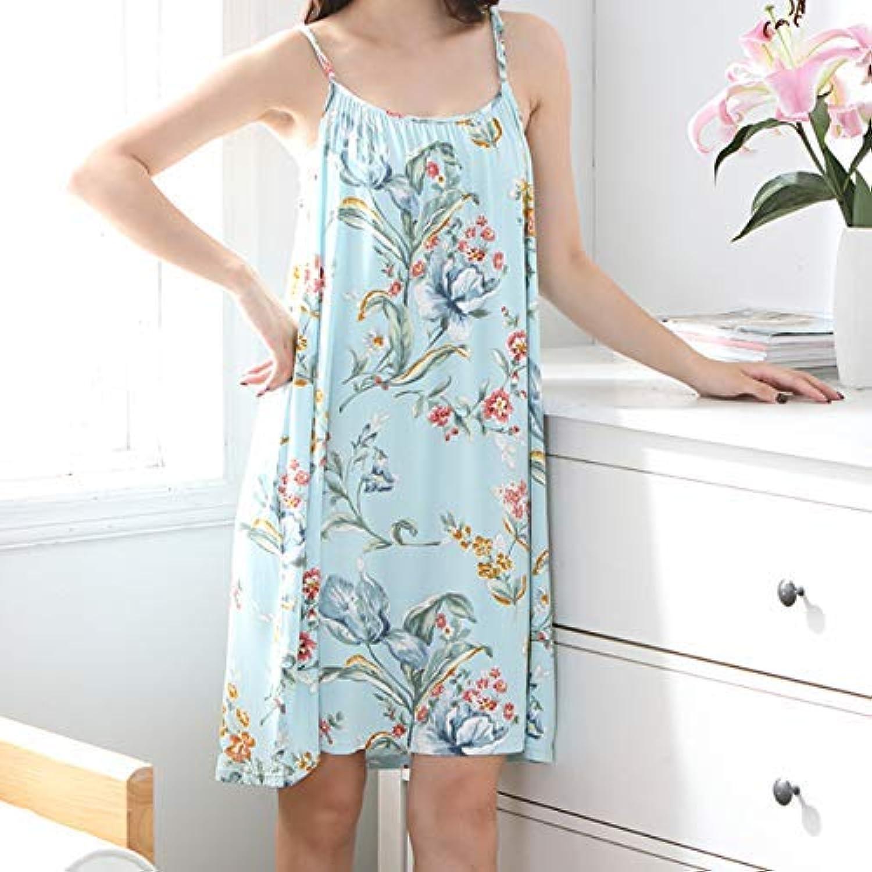 DALAI Summer Modal Nightdress Women's Cotton Short Sleeve Pajamas Cute Thin Large Size Sexy Skirt Sling Cotton Home Service (Size   XXXL150180) (Size   XXXL150180)