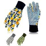 Hortem 3 Pairs Women Gardening Gloves, Ladies Gardening Gloves Medium, Non-Slip Grip Garden