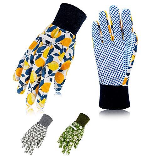 Hortem 3 Pairs Women Garden Gloves, Ladies Gardening Gloves Medium, Non-Slip Grip Garden Gloves for...