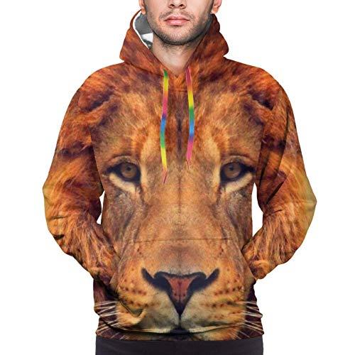fudin Hip-Hop Sudadera con capucha para niños y hombres, Rey León de los 90 con corona dorada