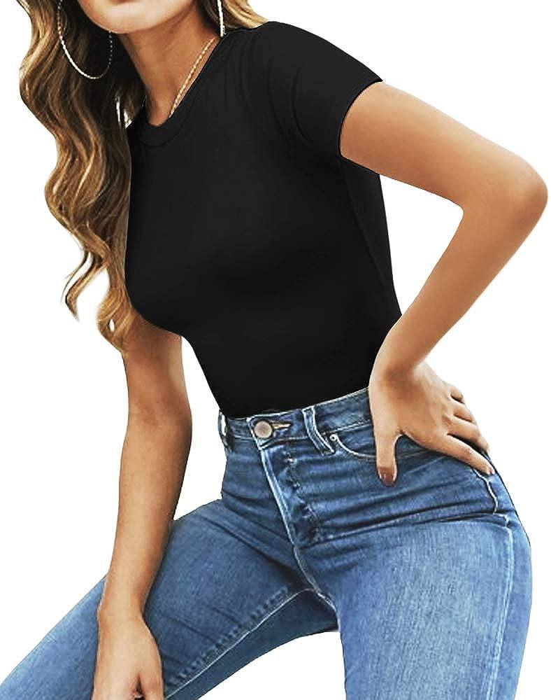 MANGOPOP Women's Round Neck Short Sleeve T Shirts Basic Bodysuits