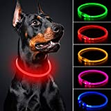 BSEEN LED Dog Collar - Cuttable Water Resistant Glowing Dog Collar Light Up, USB Rechargeable Pet Necklace Loop for Small, Medium, Large Dogs (Red)