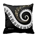 Personalized Piano Keys And Gold Music Notes Throw Pillows Custom Throw Pillow Case Personalized Cushion Cover Pillowcase Square Pillow Cover 16x16