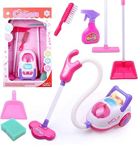 Mopoq Nuevos productos Venta caliente Familia para niños Juguetes para niños Infantil Interacción Girl Limpieza de la simulación Carro de limpieza con el conjunto de aspiradoras