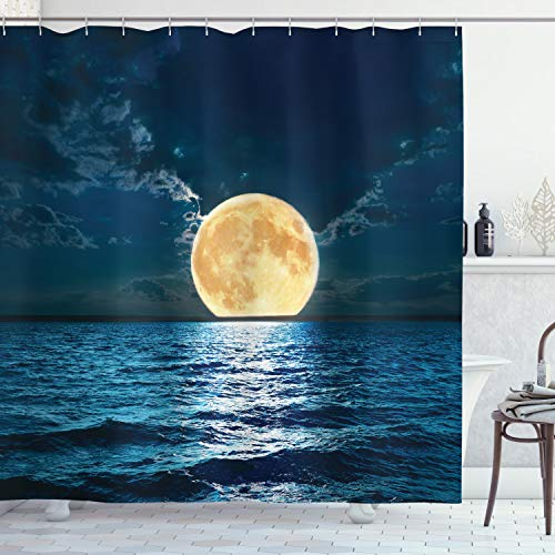 Ambesonne Ocean Shower Curtain, Super Moon Over Ocean Surface Midnight View Dreamy Mystic Picture Print, Cloth Fabric Bathroom Decor Set with Hooks, 70' Long, Yellow Navy