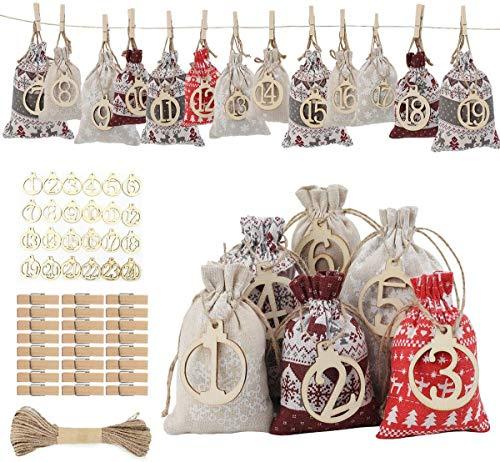OBdec 24 calendarios de Adviento para rellenar, calendario de Adviento 2020, bolsas de tela para hombres, mujeres y niños, con 1 – 24 virutas de madera digitales, bolsa de regalo de Navidad