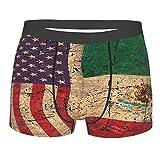Retro Bandera de Estados Unidos y México Ropa interior para hombre, divertido calzoncillos tipo bóxer, color negro