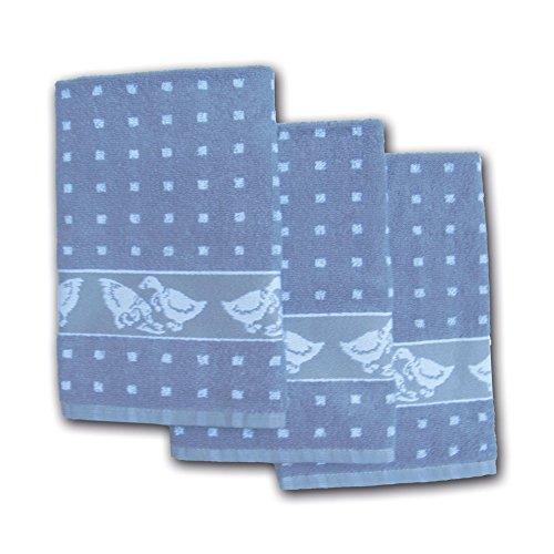 Ross Küchenfrottiertuch Gänse Quadrat Silber 3er - 50x50cm