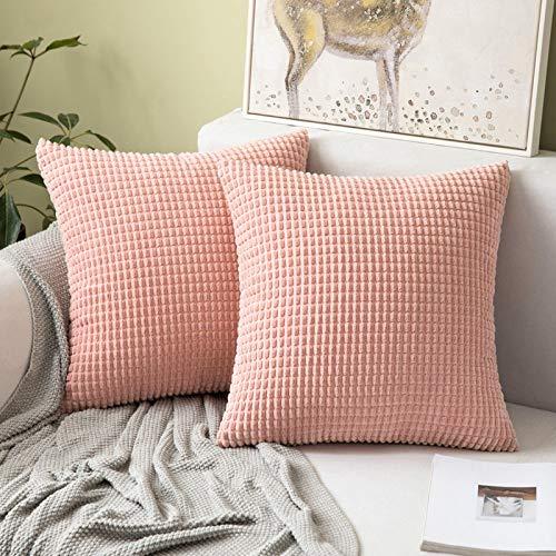 MIULEE 2er Set Kordsamt Soft Solid Dekorative Quadrat Wurf Kissenbezüge Set Kissen Fall für Sofa Schlafzimmer 24 x 24 inch 60 x 60 cm Big Corn Lederpulver