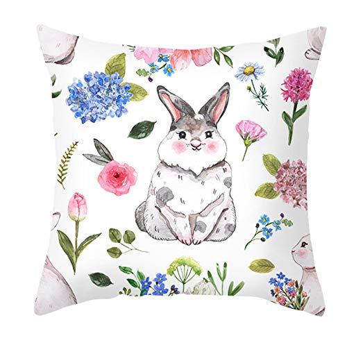 Mku Felice Pasqua Primavera Fodere Per Cuscini Uova Bunny Conigli Fiori Decorativi Coperte Per Cuscini Decorazione Per La Casa Per Divano Divano Per Esterni